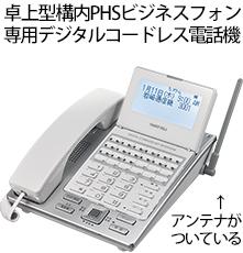 卓上型構内PHSビジネスフォン 専用デジタルコードレス電話機。アンテナが ついている
