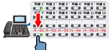 外線1で受けた外線をパーク1ボタンに保留置き換え