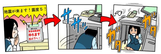 緊急地震速報を知り机の下に潜り身の安全を確保するイメージ
