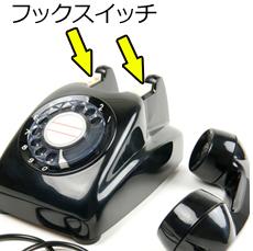 黒電話の受話器を外し、フックスイッチをクローズアップした部分のイメージ