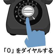 黒電話の回転ダイヤル「0」を手で回そうとしているイメージ