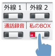 赤く点灯した「私のBOXボタン」を指で押しているイメージ