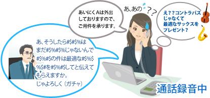 お客様からの電話対応中の女性の会話、女性:「あいにくAは外出しておりますのでご用件を承ります」。 お客様:(非常に小さな声で部分的に聞こえづらい)「あ、そしたら・・・は、まだ・・・じゃないんで・・・の件は最適な・・・してと伝えてもらえますか、よろしく(ガチャ)」。 女性:「あ、あの」と困った表情で心の中では(え??コントラバスじゃなくて最適なサックスをプレゼント?)と聞こえた感じがした。という電話での会話イメージ。