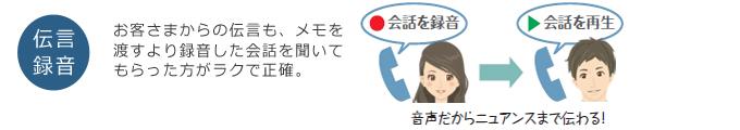 「通話録音」会話の内容を聞き直せるから、 聞き漏らし、聞き間違が なくなります!(録音再生している女性イメージ)